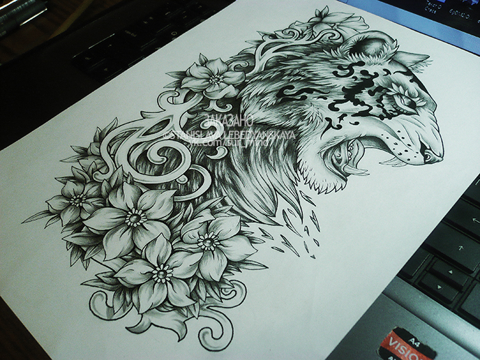 Traditional Flower Line Drawing : The tiger in curves and flowers commission by stanislava korn on