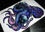 Octopus with sea mines