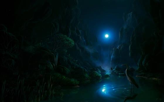 Night scene in the moonlight