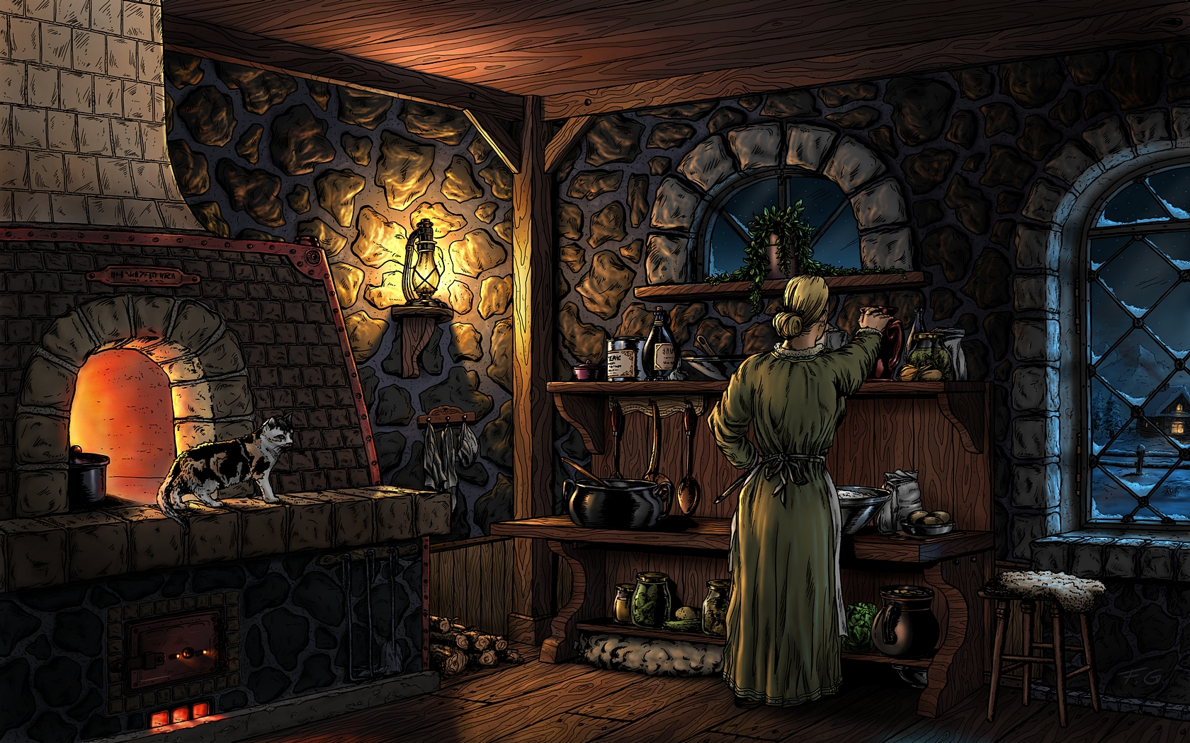 Evening in the old kitchen by Fel-X