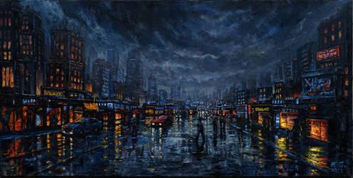 street in the rain by Fel-X
