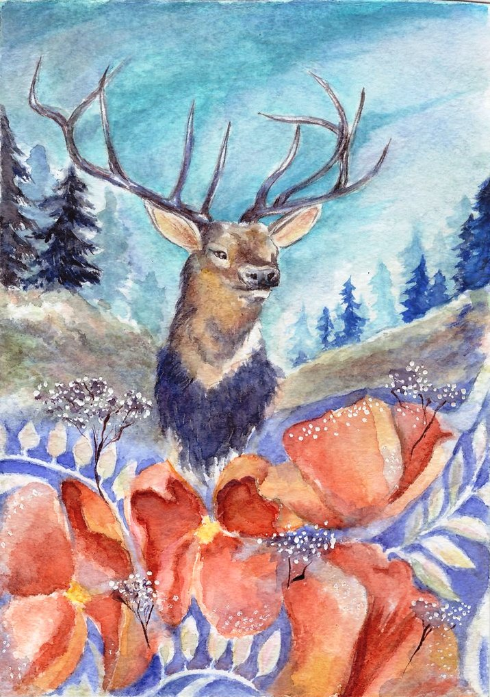 Card with a deer by Leona-Norten