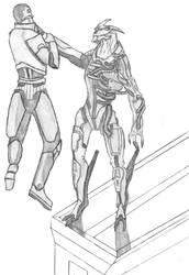 Saren vs. Shepard by Black-Fencer
