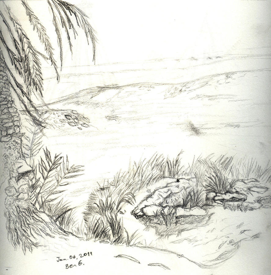 desert oasis drawing - photo #14