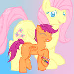 FlutterShy and Scootaloo