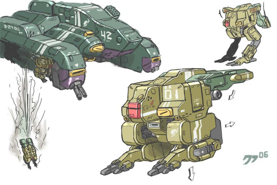 Mecha and Dropship by grid-gunner