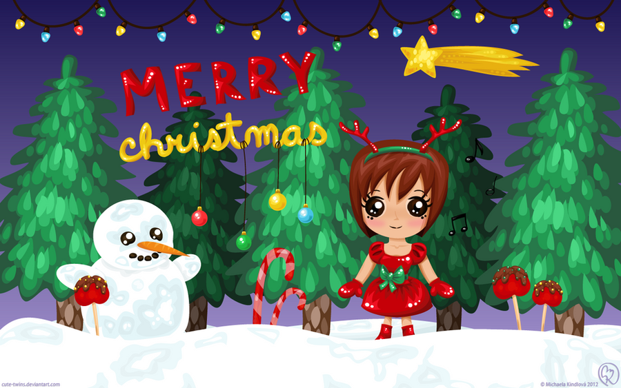 Merry Christmas Wallpaper By Cute Twins