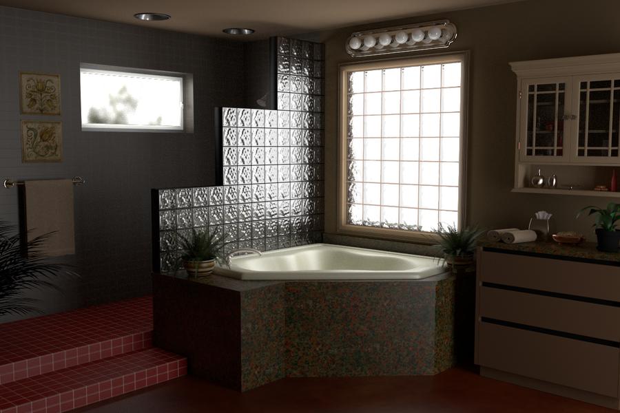 Bathroom glass block wall