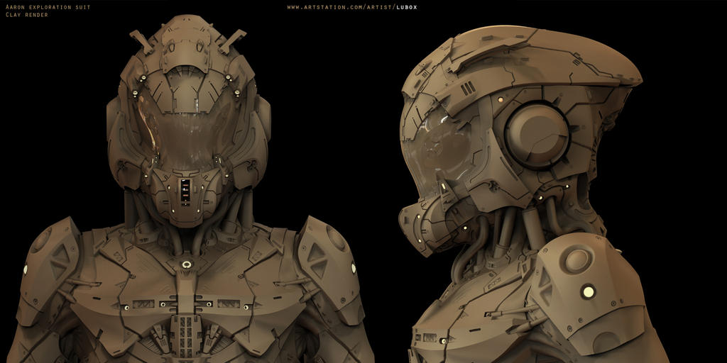 Aaron Exploration Suit - Clay render by LuboxArt