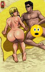 Bleinnie on beach censored by CarbertArtwork
