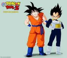 Goku y vegeta estilo 1990- vestimenta 2015 by salvamakoto