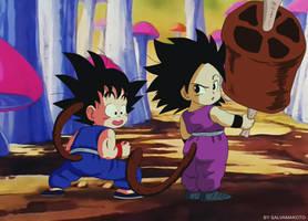 Commission 74 - Goku y Caulifla pilaf saga