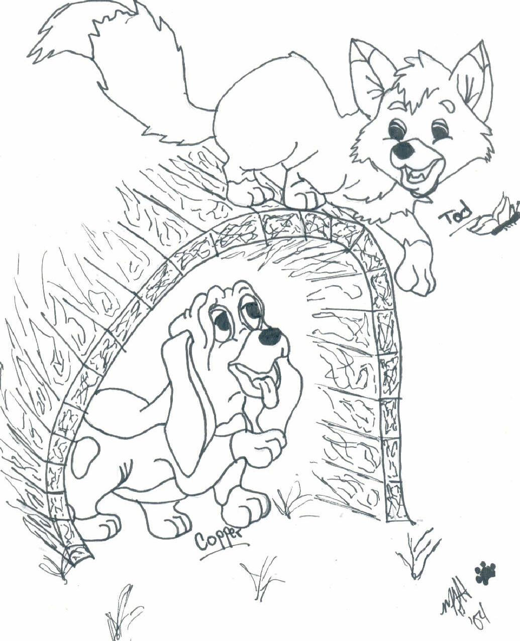 the fox and the hound coloring pages - fox and the hound by cutencuddlypadfoot on deviantart