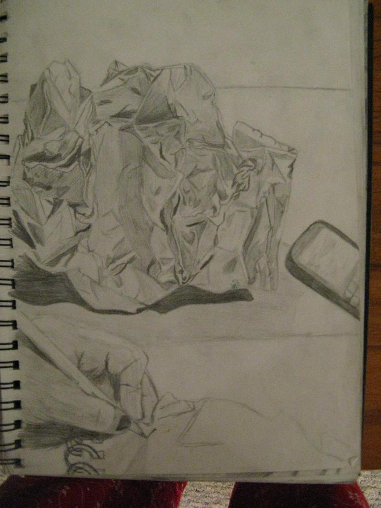 Paper bag sketch - A Crumpled Up Paper Bag By Angelwolfspirit