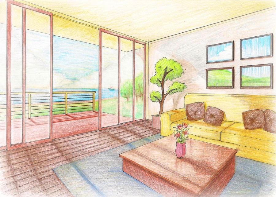 Interior perspective living room by rjldeximo on deviantart - One point perspective drawing living room ...