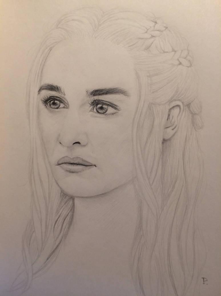 Pencil drawing of daenerys targaryen by pmeowmix