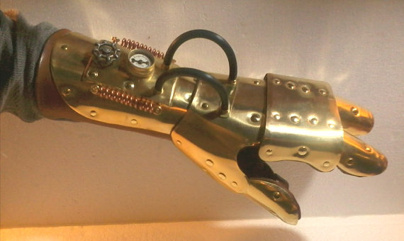 Steampunk gauntlet brass claw 'left hand' by Lillian-Fox