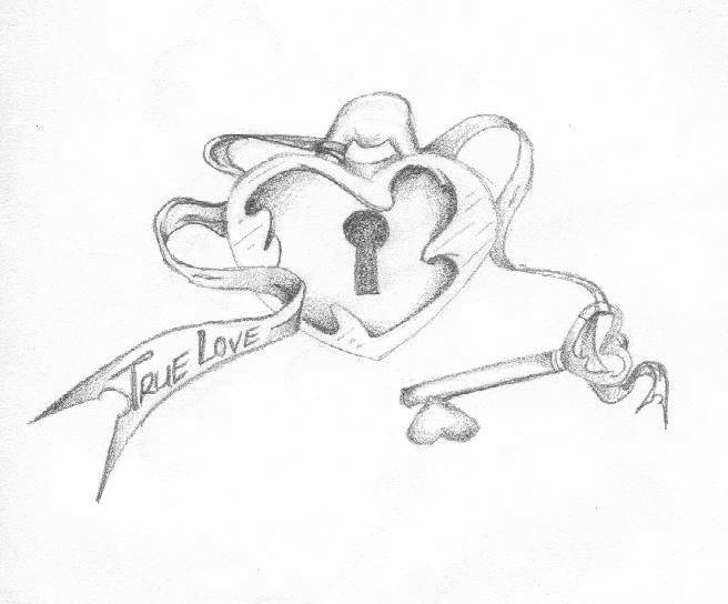Drawing And Of Heart And Lock Coloring Pages
