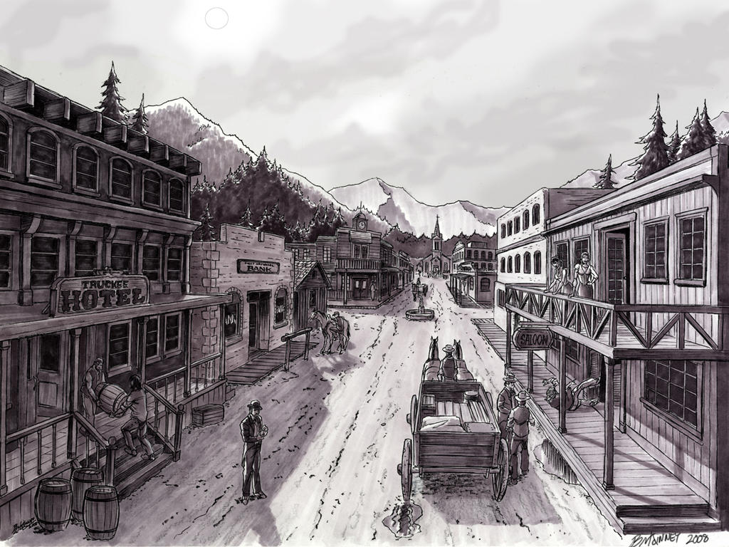 Old Western Town by BLMcKinneyOld Western Town Drawing