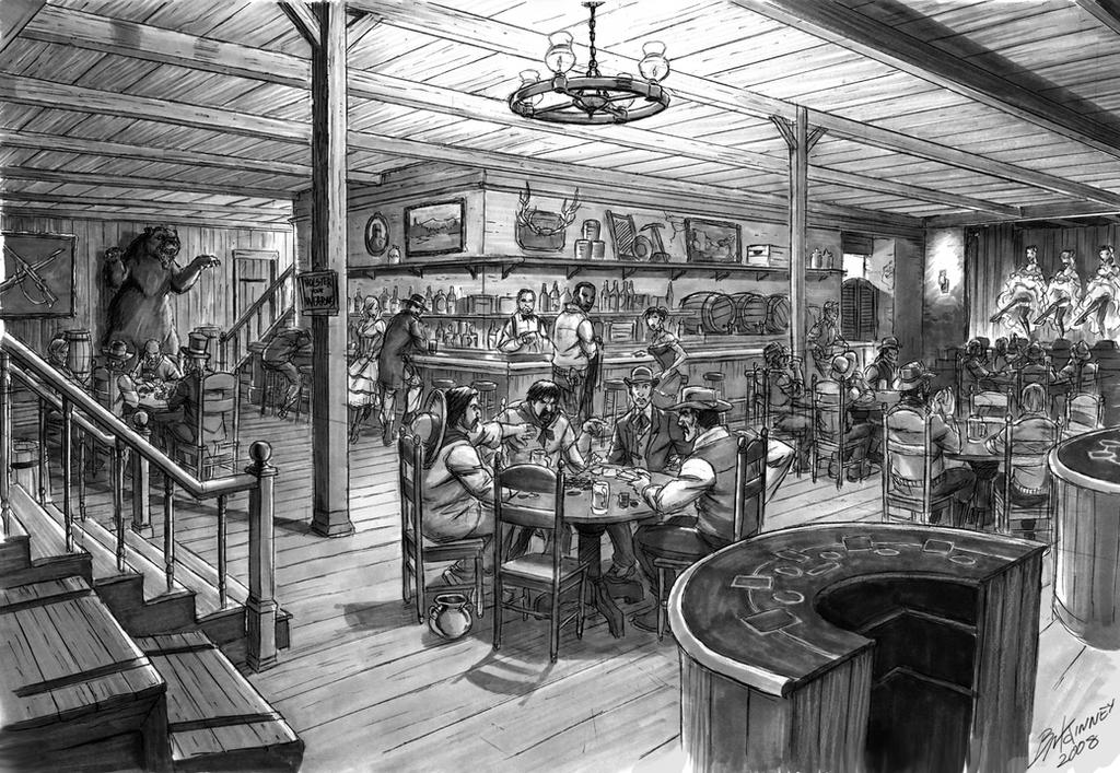 Old Western Bar by BLMcKinneyOld Western Town Drawing