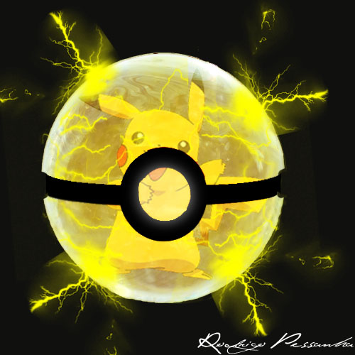 Pikachu inside the PokeBall by rodrigopessanha