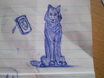 wolf and telephone by Elanka