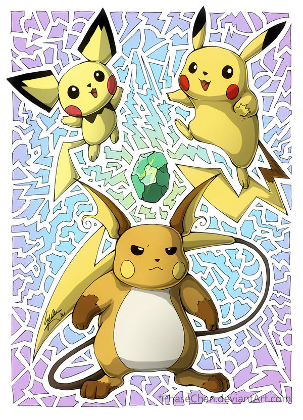 Pichu! Pikachu! Raichu! by PhaseChan on DeviantArt