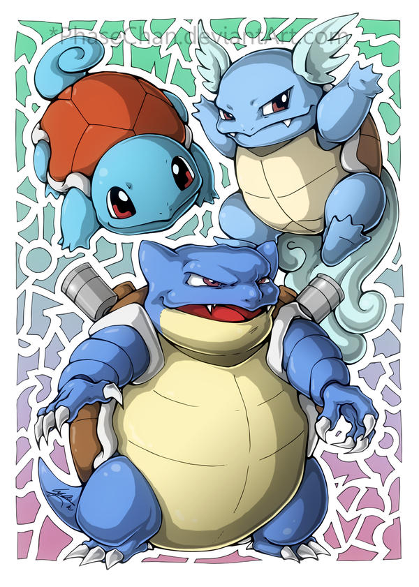 Squirtle! Wartortle! Blastoise! by PhaseChan on DeviantArt
