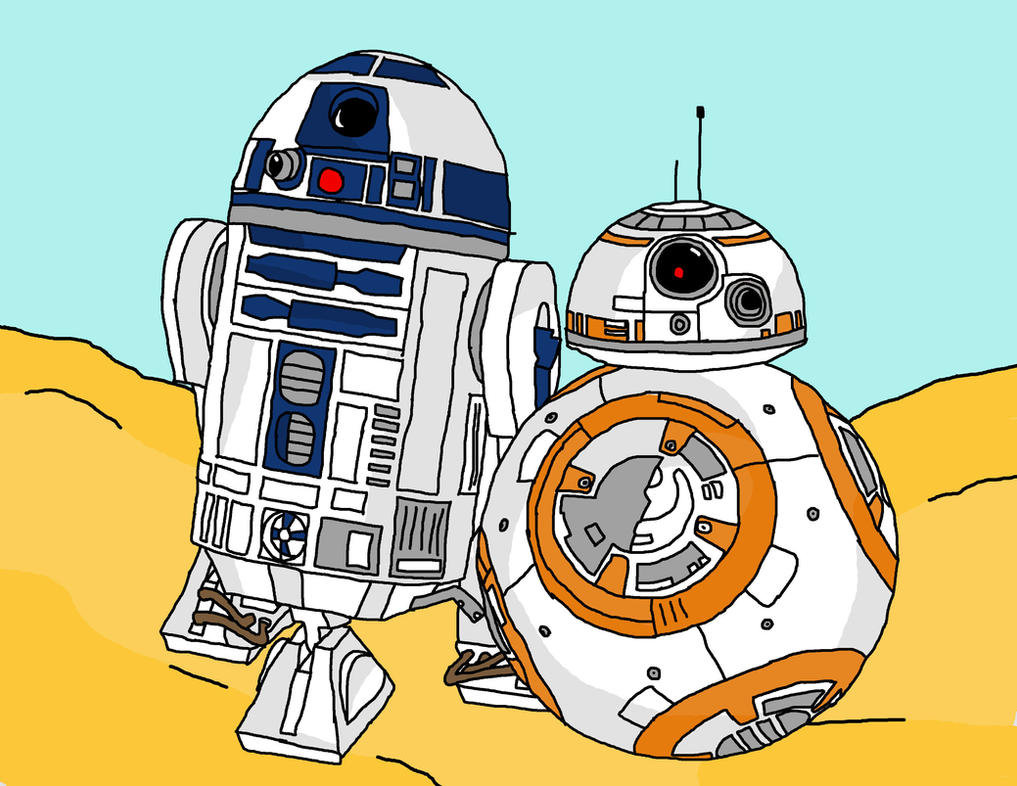 R2-D2 And BB-8 by Miss-Prime
