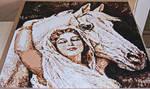Perler beads / Hama perler Woman with white Horse by Kirikina