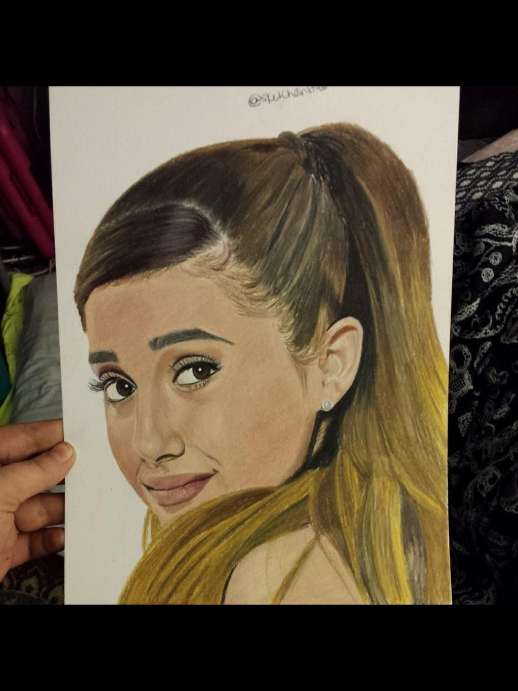 My colored pencil drawing of ariana grande by
