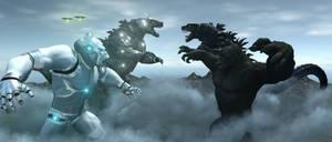 Godzilla and King Kong Vs Mecha Kong and Mecha God