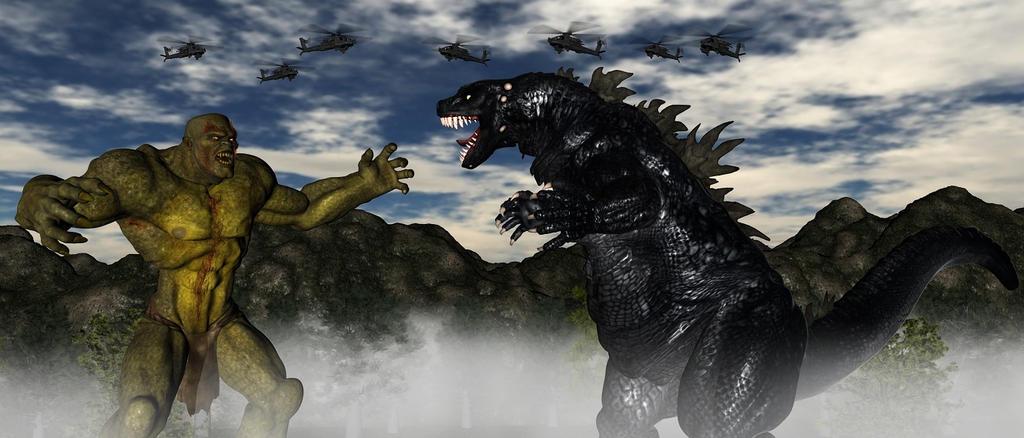Godzilla Vs Frankenstien Giant Legend. by TeddyBlackBear2040