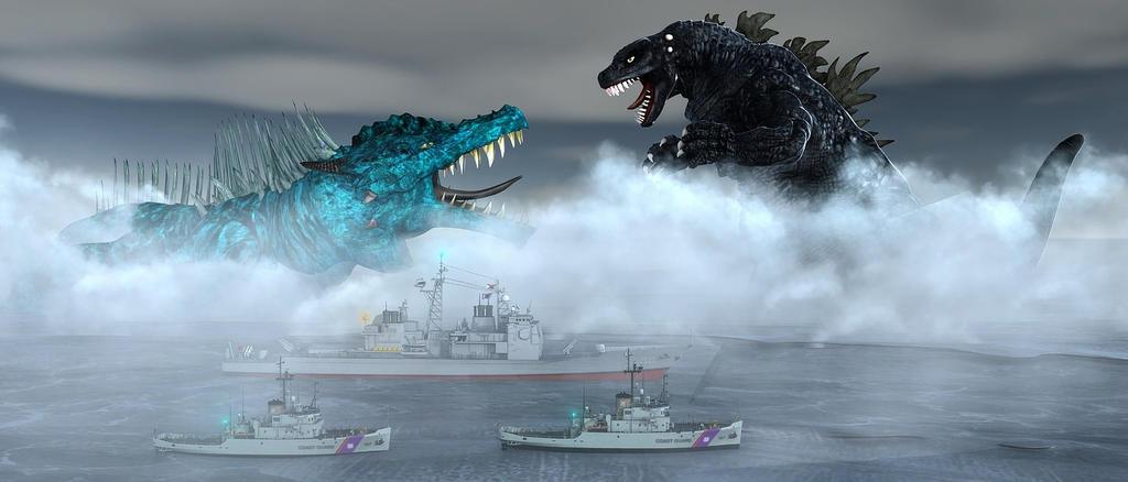 Godzilla Vs Shi-Zu-Gor The Sea Monster by TeddyBlackBear2040