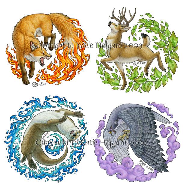 --Divergent-- Elemental_Animals_by_shadow_wolf