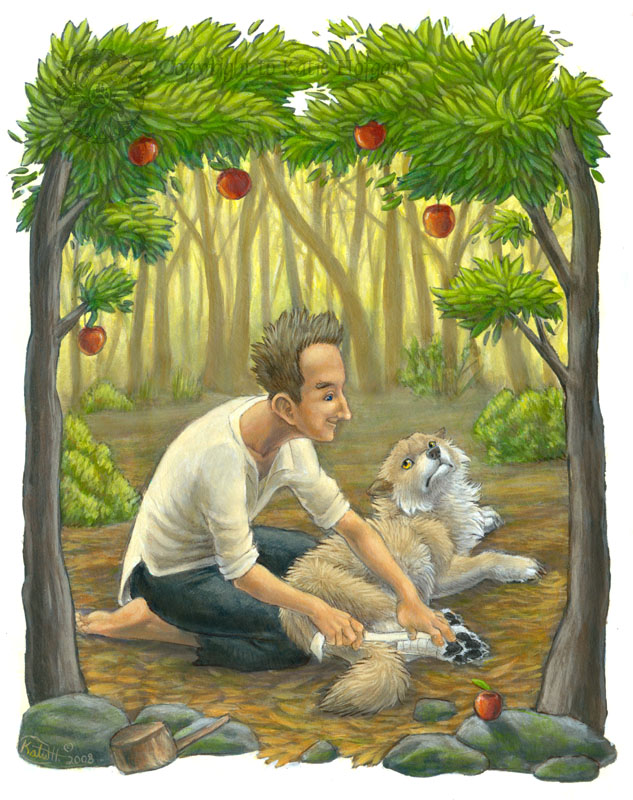 Jonny Appleseed Helps the Wolf by KatieHofgard
