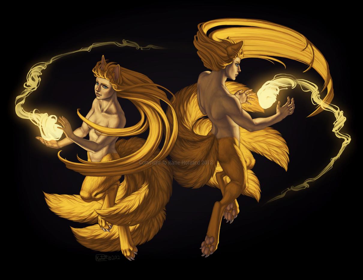 Twin Foxfire by KatieHofgard