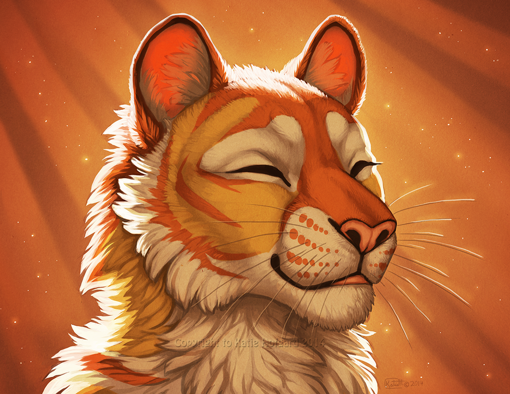 Orange Wolf Drawing Radiant Warmth by Kati...