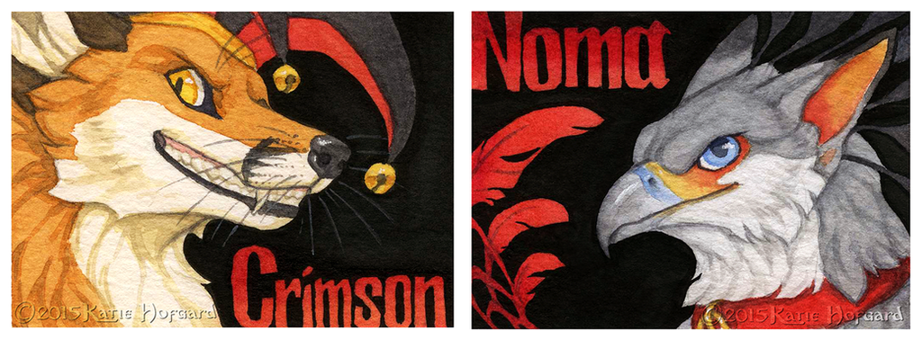 Crimson and Noma Badges by Shadow-Wolf