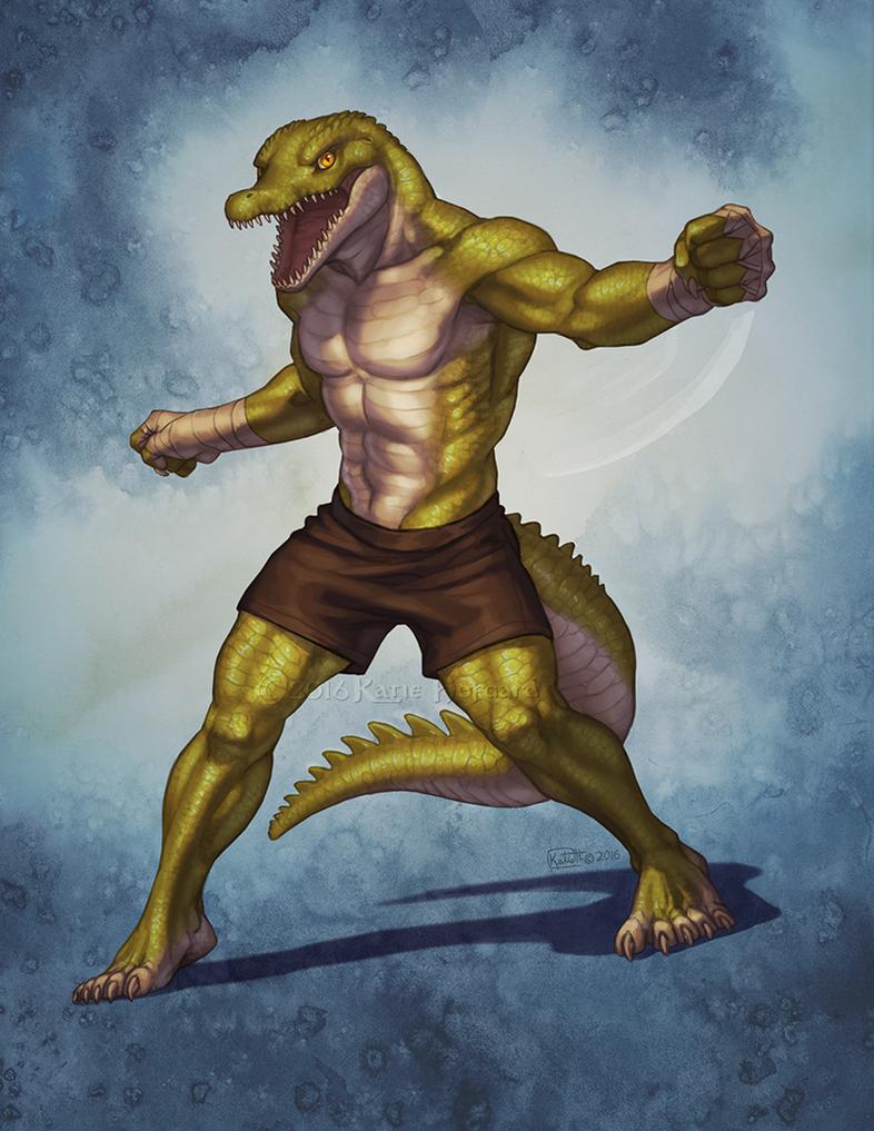 Crocodilian Brawler by KatieHofgard