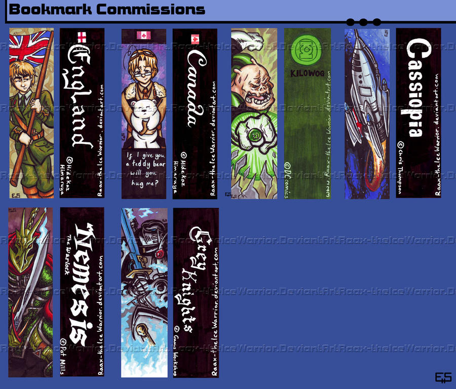 Bookmark Commissions by Raax-theIceWarrior