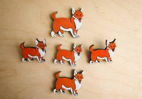 Corgi magnets and pins by ShadowOfLightt