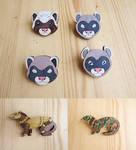 Ferrets pins / magnets by ShadowOfLightt