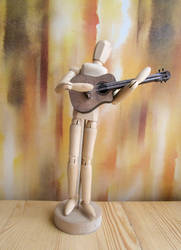Wooden handmade little guitar magnet broooch toy
