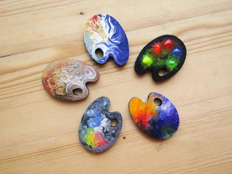 palette wooden pin | magnet | keychain | Brooch by ShadowOfLightt