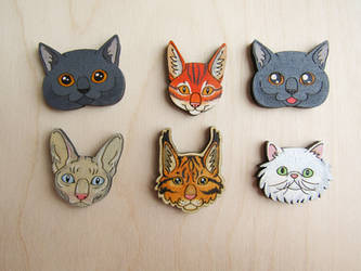 Cats wooden pin | magnet | brooch