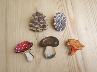 cones  mushrooms wooden pin | keychain | magnet by ShadowOfLightt