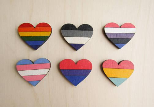 LGBT pride heart pin | brooch | badge | magnet by ShadowOfLightt