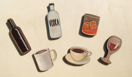 The drinks wooden badges / pins / brooches /magnet by ShadowOfLightt