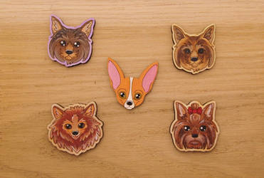 Dog Wooden Pin Magnet